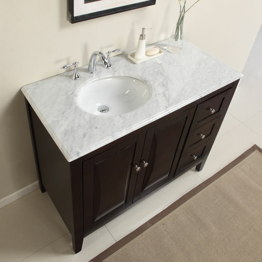 Silkroad exclusive 45 single sink cabinet bathroom vanity set reviews wayfair Bathroom sink and vanity sets