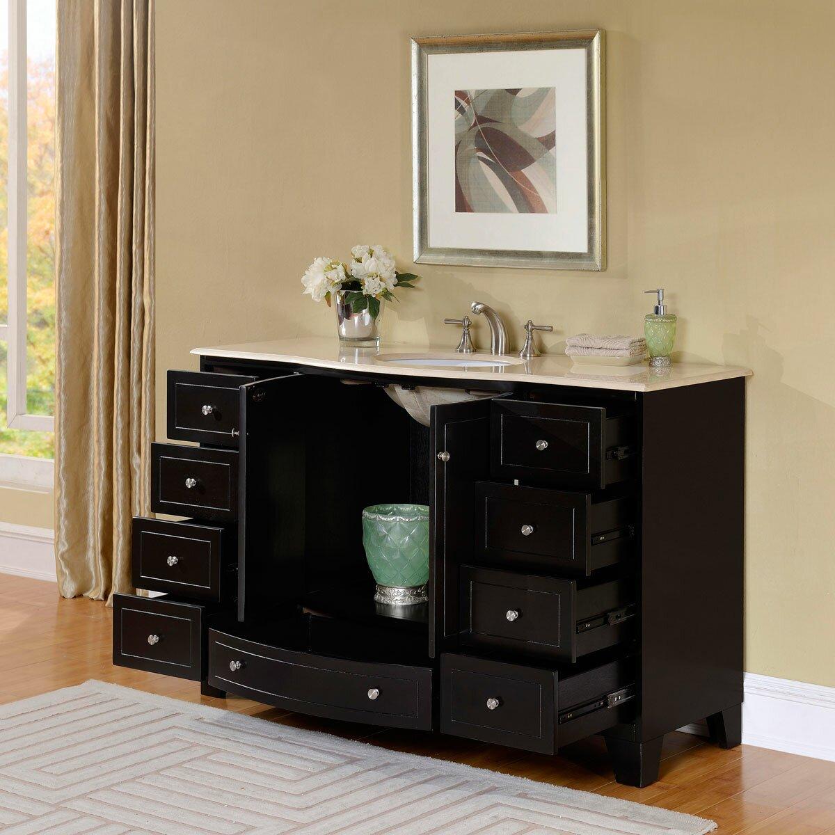 Silkroad exclusive 55 single sink cabinet bathroom vanity for Bathroom vanity and cabinet sets