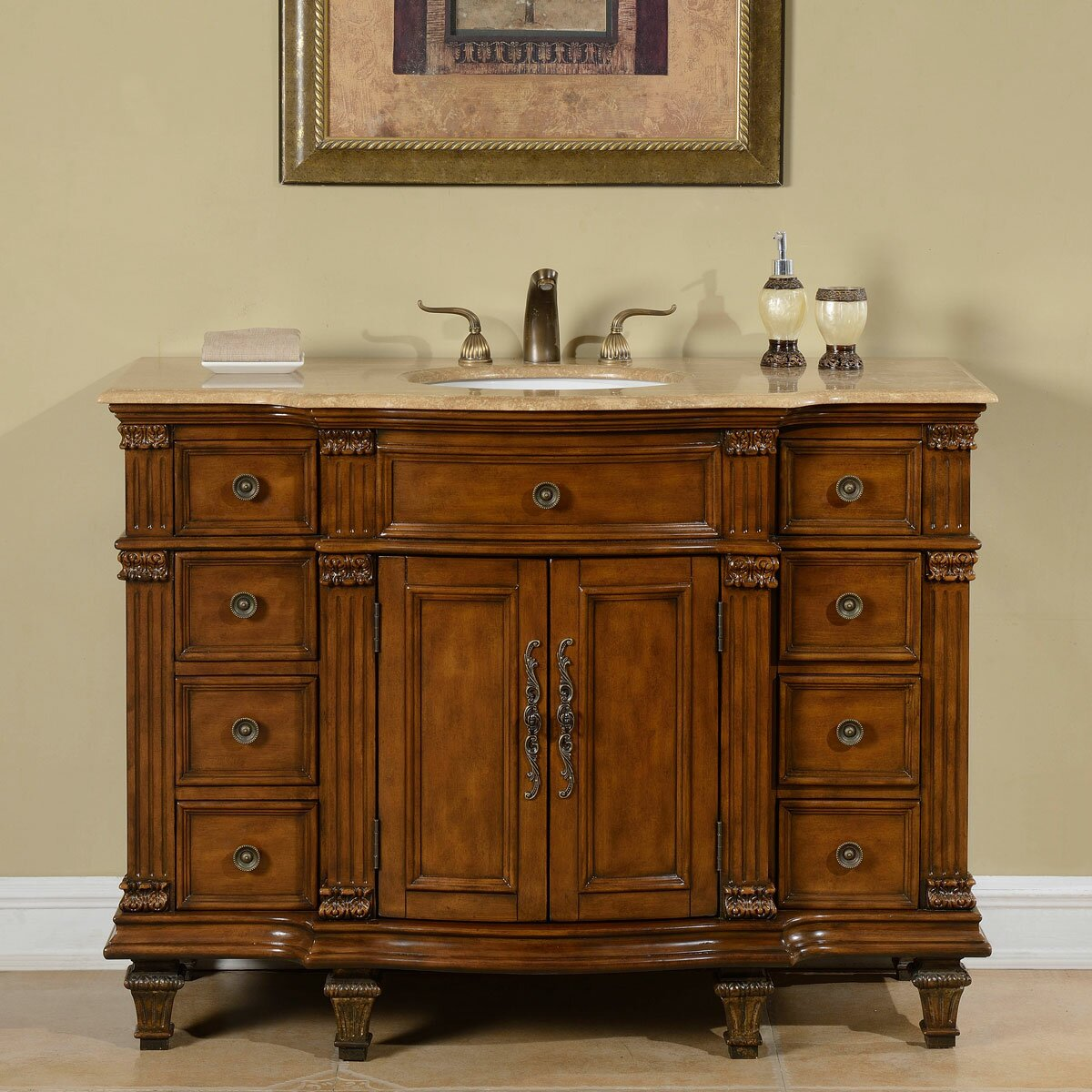 silkroad exclusive 48 single sink cabinet bathroom vanity set