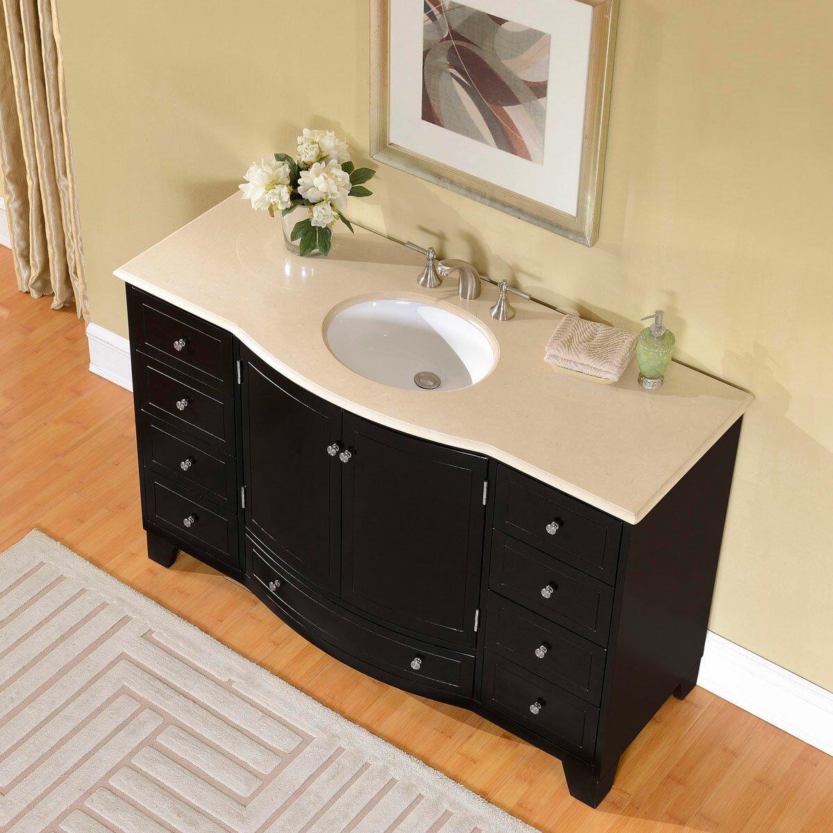 """Silkroad Exclusive 55"""" Single Sink Cabinet Bathroom Vanity Set & Rev"""