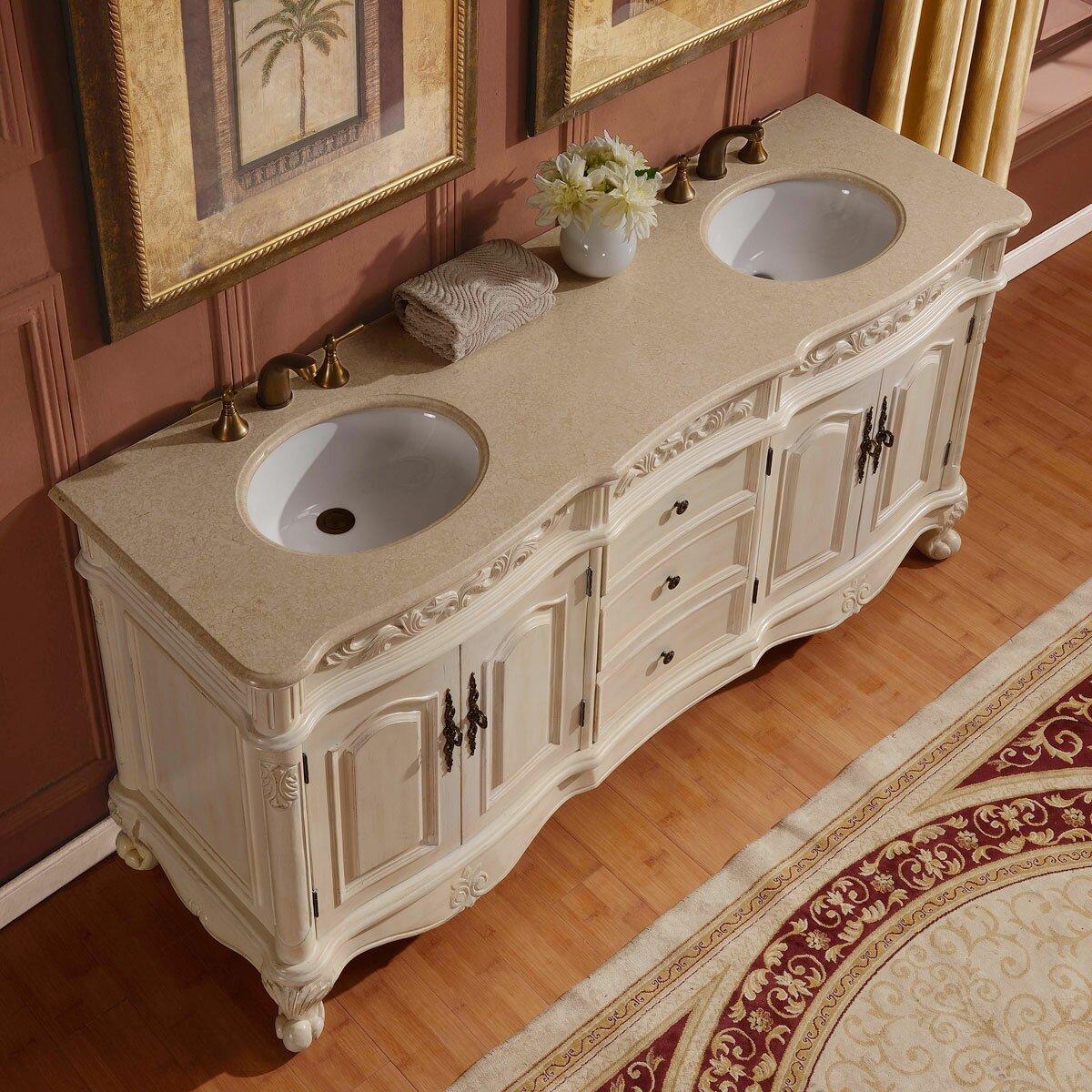 "Silkroad Exclusive 72"" Double Sink Cabinet Bathroom Vanity Set & Rev"