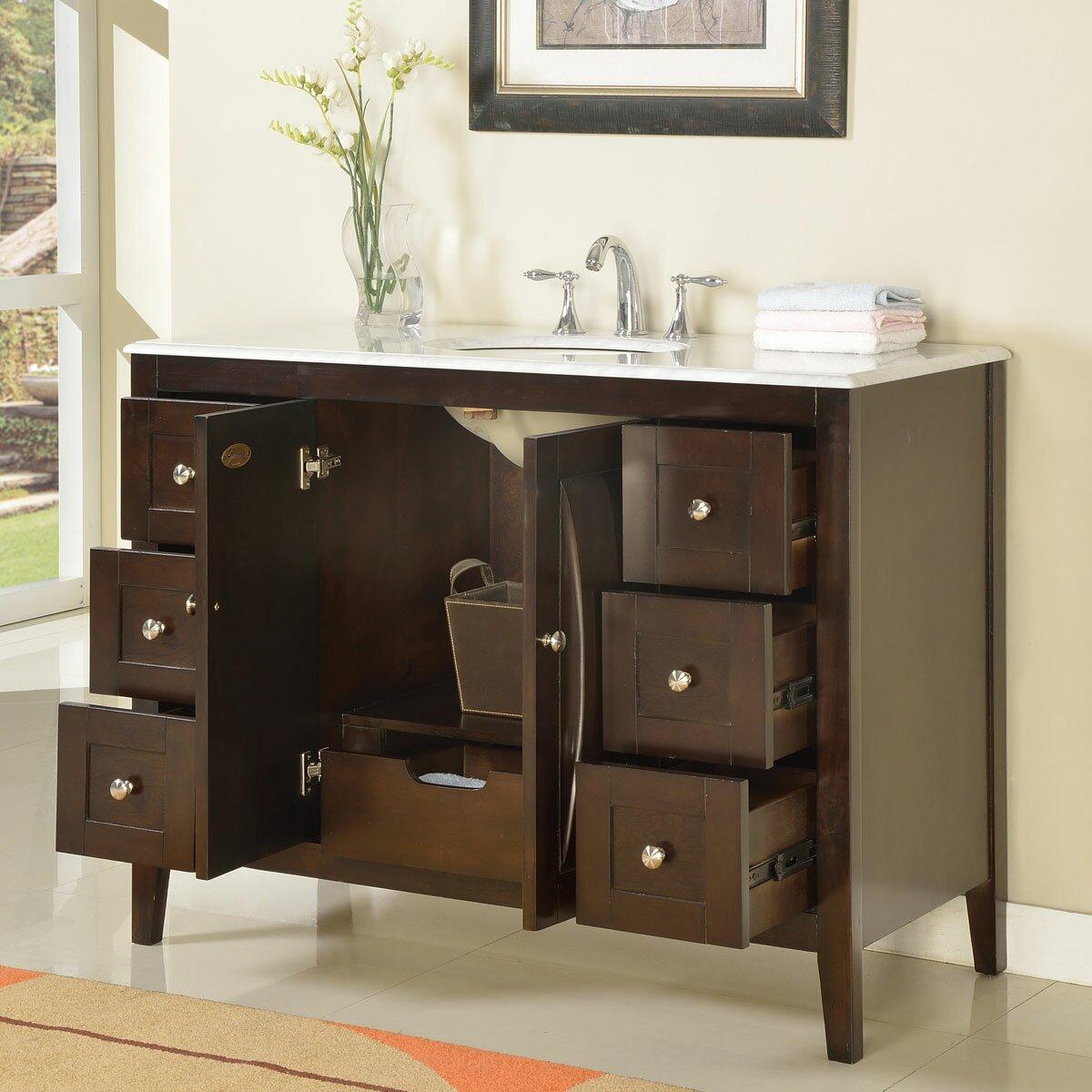 Silkroad exclusive 48 single sink cabinet bathroom vanity set reviews wayfair for Silkroad bathroom vanity reviews