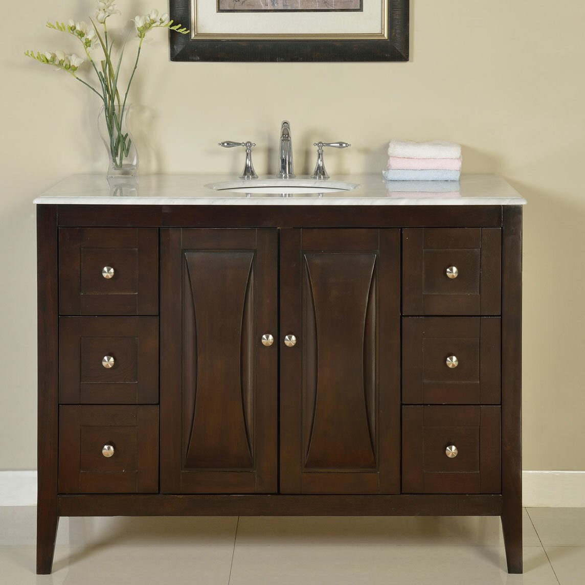 Silkroad exclusive 48 single sink cabinet bathroom vanity set reviews wayfair Bathroom sink and vanity sets
