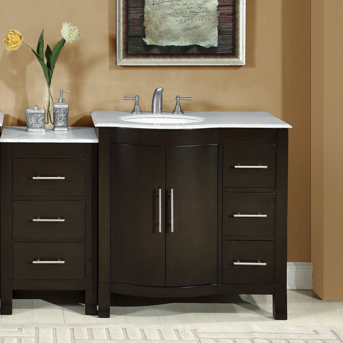 Silkroad exclusive 53 5 single sink lavatory cabinet modular bathroom vanity set reviews for Prefabricated bathroom cabinets