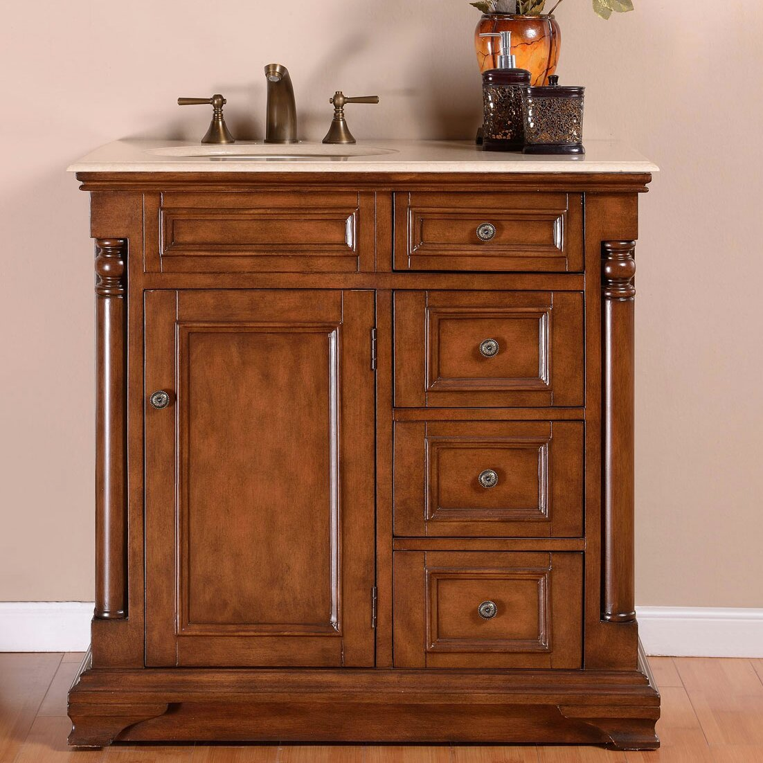 "Wayfair Bathroom Vanity >> Silkroad Exclusive 36"" Single Sink Cabinet Bathroom Vanity Set & Reviews 