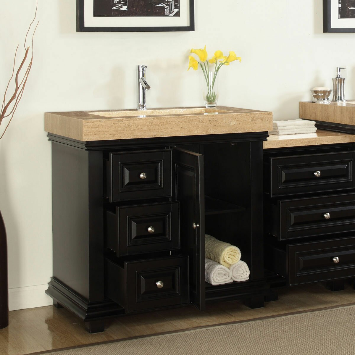 "Silkroad Exclusive 55 5"" Single Integrated Bathroom Vanity Set with Drai"
