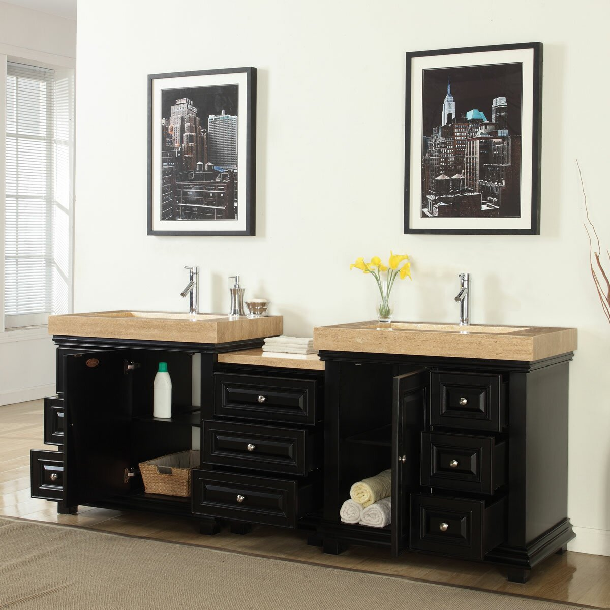 Silkroad exclusive 90 double sink modern bathroom vanity set reviews wayfair - Kona modern bathroom vanity set ...