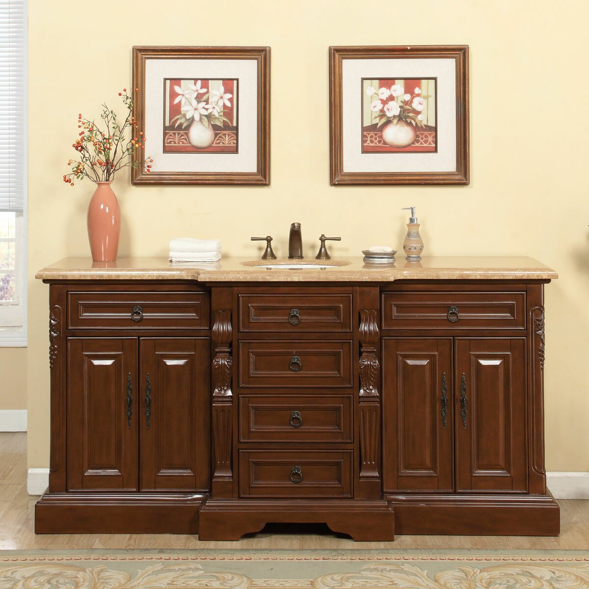 Silkroad Exclusive 72 Single Sink Bathroom Vanity Set