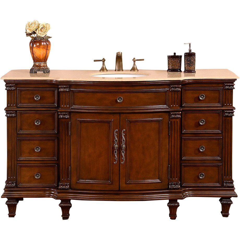 silkroad exclusive 60 quot  single sink cabinet bathroom vanity Lowe's Bathroom Vanity Cabinets Track Bathroom Vanity