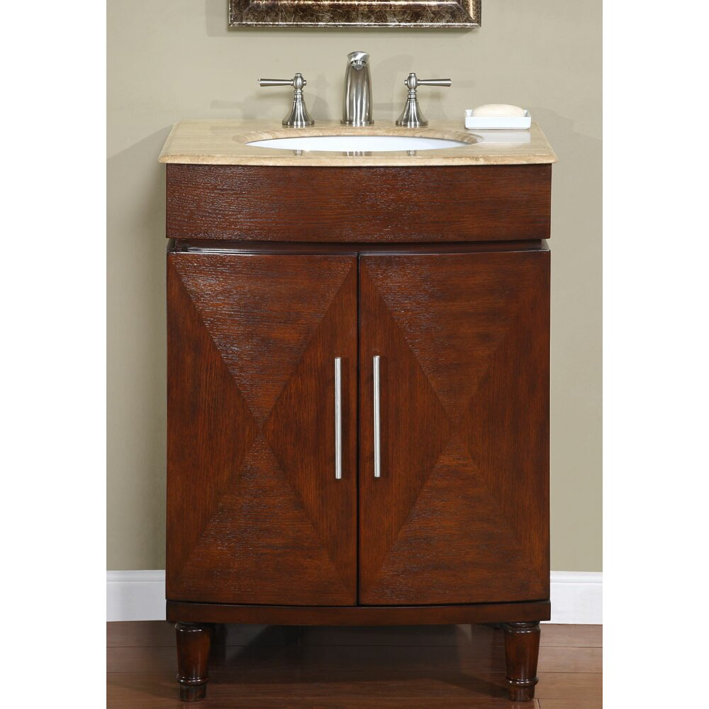 Silkroad exclusive cambridge 26 single bathroom vanity for Single bathroom vanity