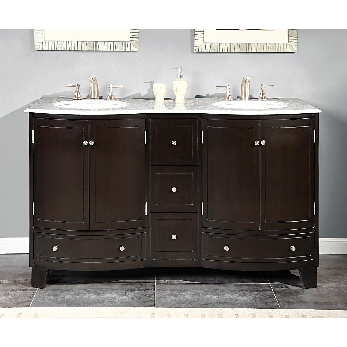 Silkroad exclusive naomi 60 double bathroom vanity set for Bathroom 60 double sink vanity