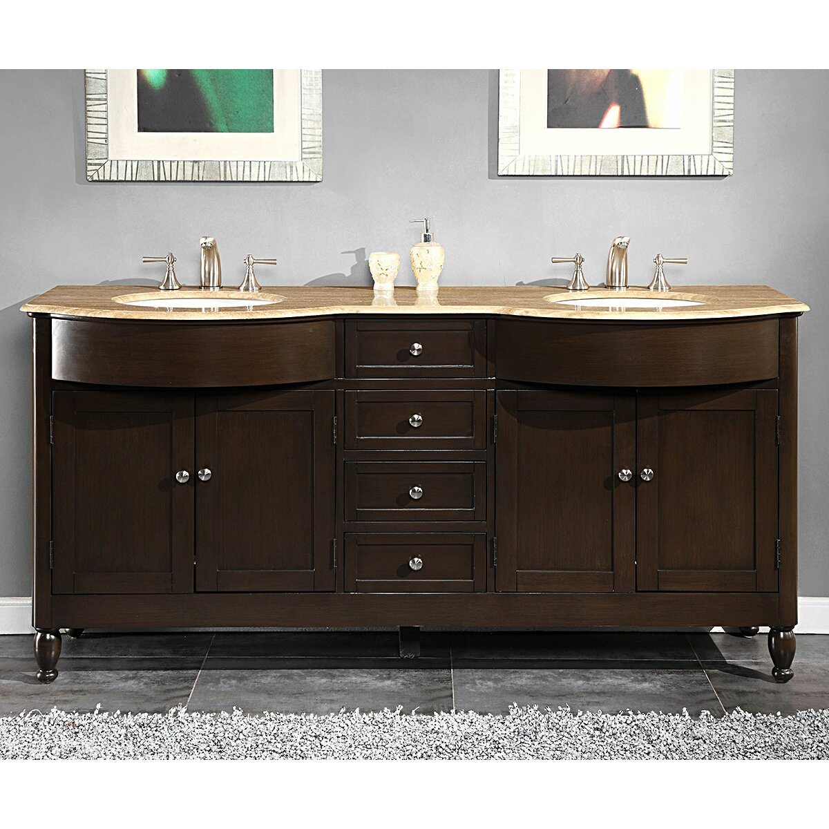 Silkroad Exclusive Kelston 72 Double Bathroom Vanity Set Reviews Wayfair