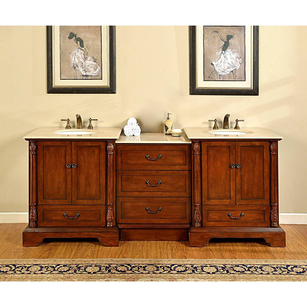 Silkroad Exclusive Casshern 87 Double Bathroom Vanity Set Reviews Wayfair