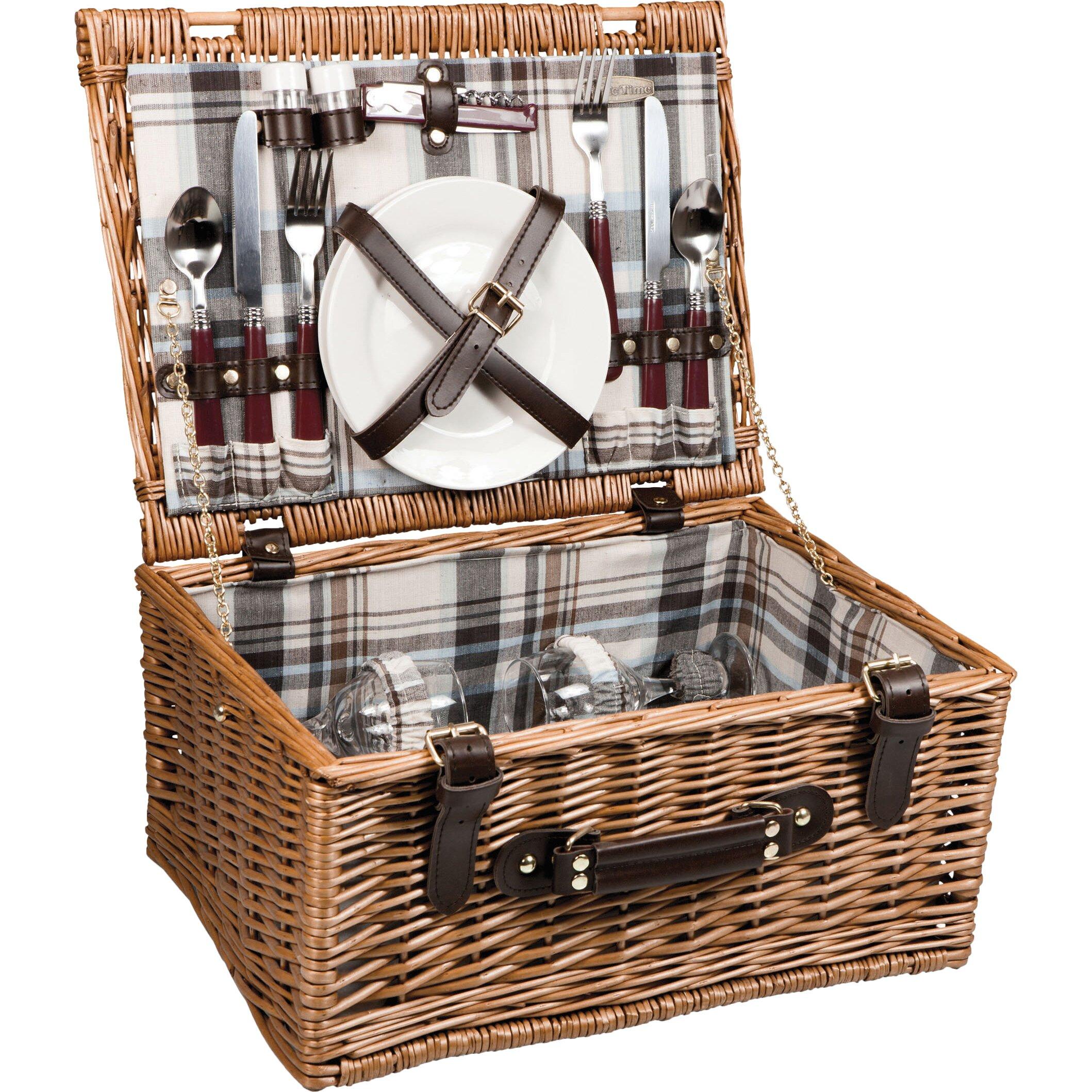 Picnic Basket Dish Set : Picnic time bristol basket set reviews wayfair
