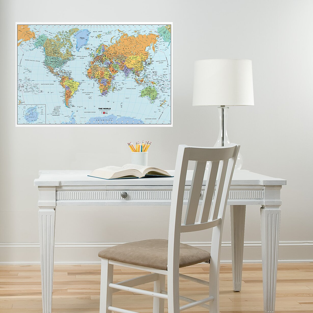 wallpops world dry erase map wall mural reviews wayfair ForDry Erase World Map Wall Mural
