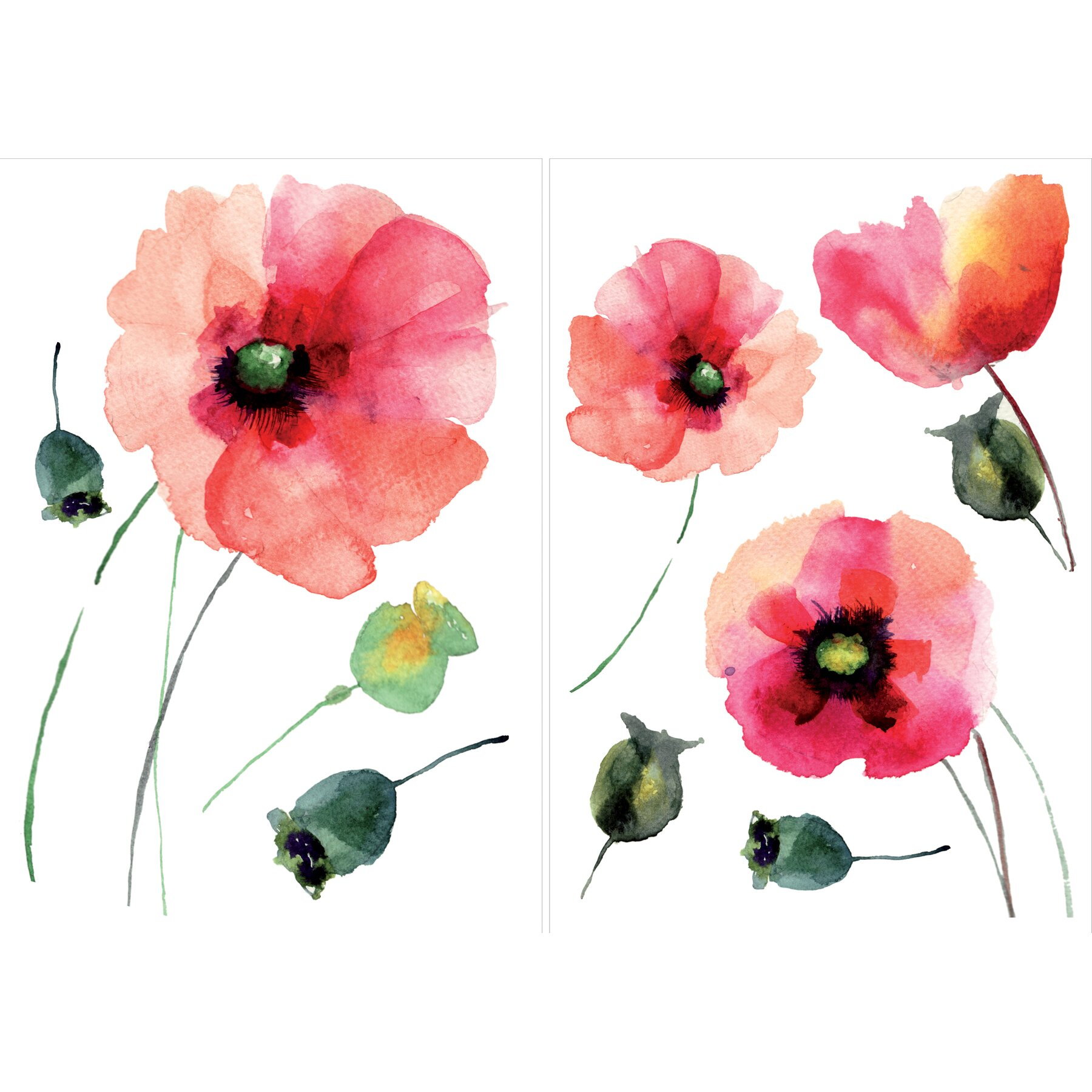 Wallpops Home Decor Line Watercolor Poppies Wall Decal Reviews Wayfair