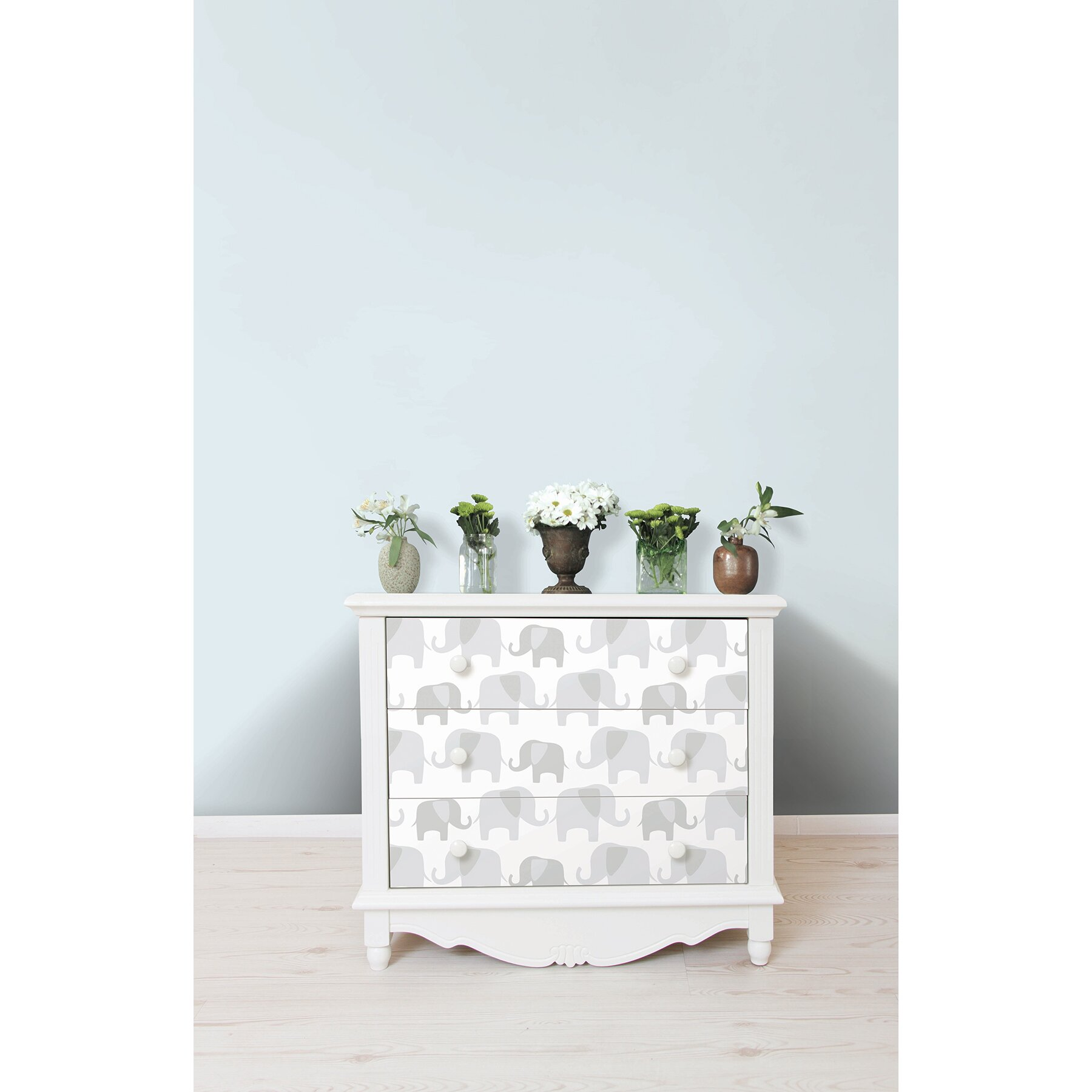 Wallpops grey elephant parade peel and stick wallpaper for Wayfair bathroom wallpaper