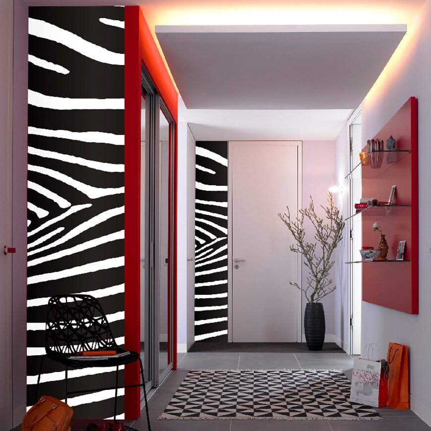 Brewster home fashions euro stripe zebra wall mural for Brewster birch wall mural