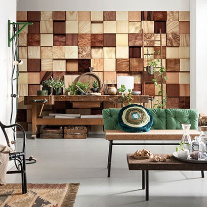 Brewster home fashions komar lumbercheck wall mural for Brewster birch wall mural