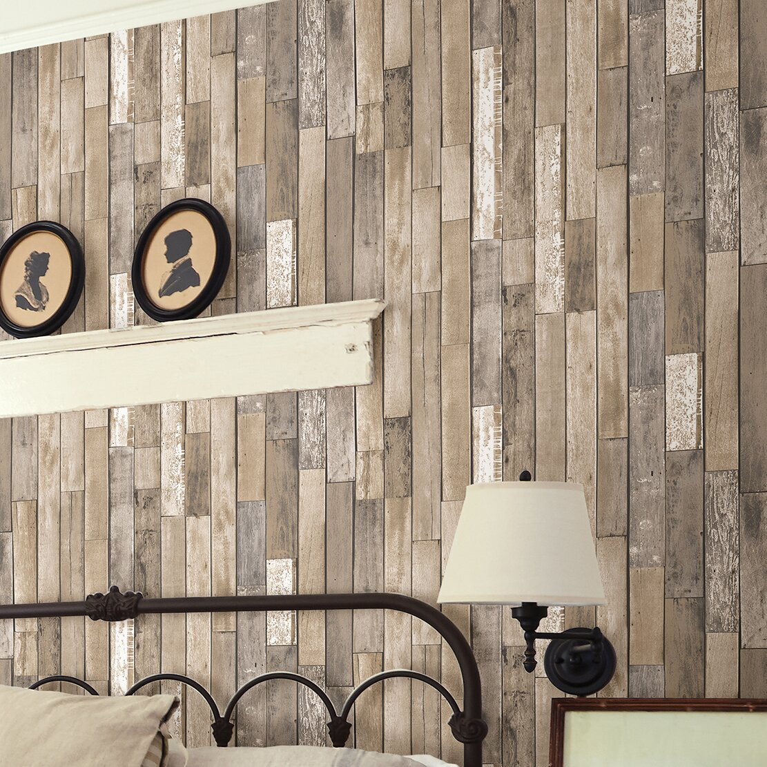 Brewster home fashions essentials barn board thin plank 33 for Brewster wallcovering wood panels mural 8 700