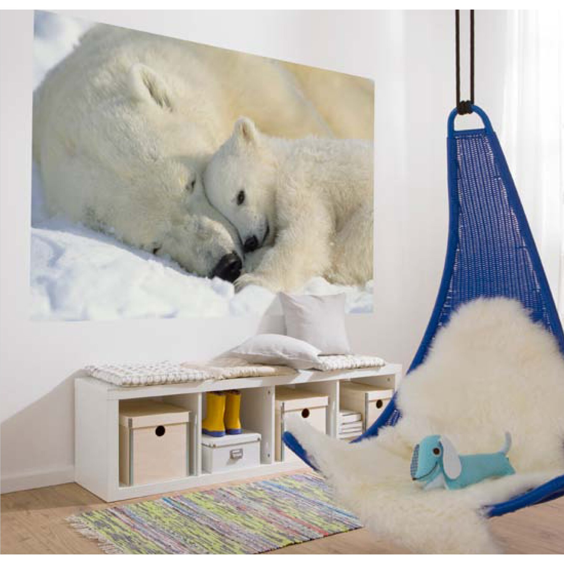 Brewster home fashions komar polar bears wall mural for Brewster home fashions komar wall mural