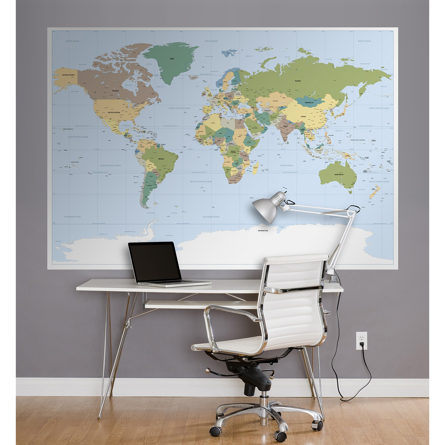 Brewster home fashions komar world map wall mural for Brewster birch wall mural
