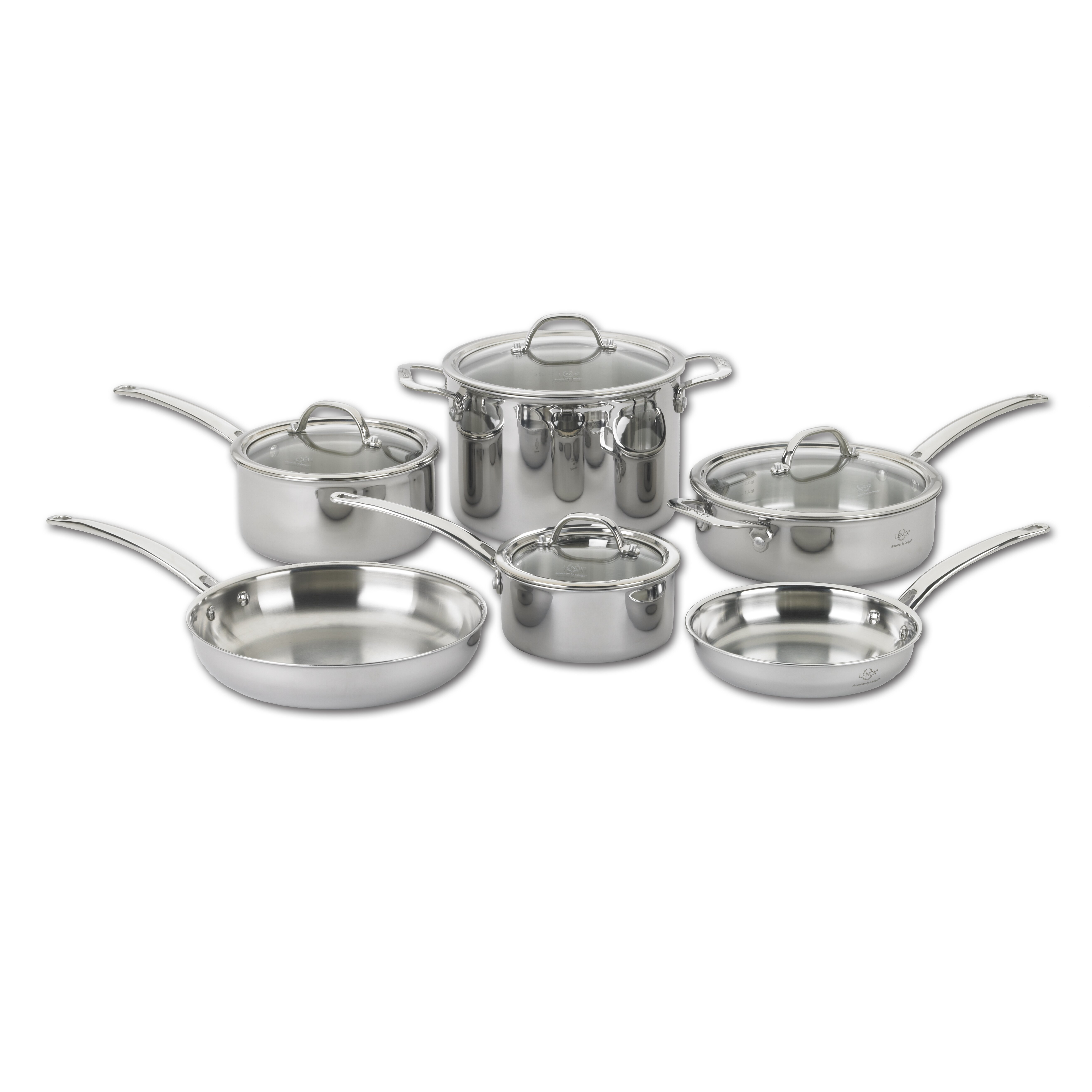 Lenox Tri Ply 10 Piece Stainless Steel Cookware Set