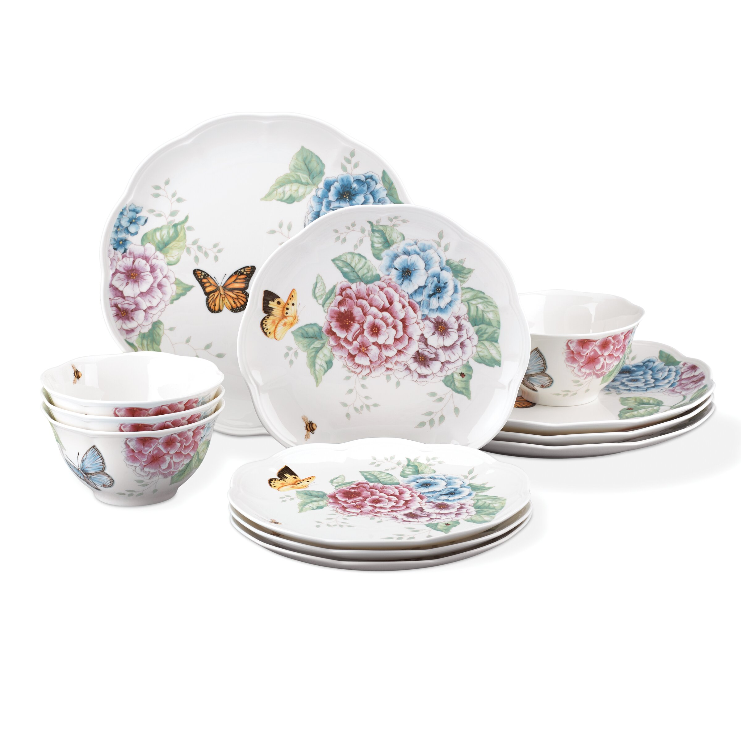 Lenox Butterfly Meadow Hydrangea 12 Piece Dinnerware Set