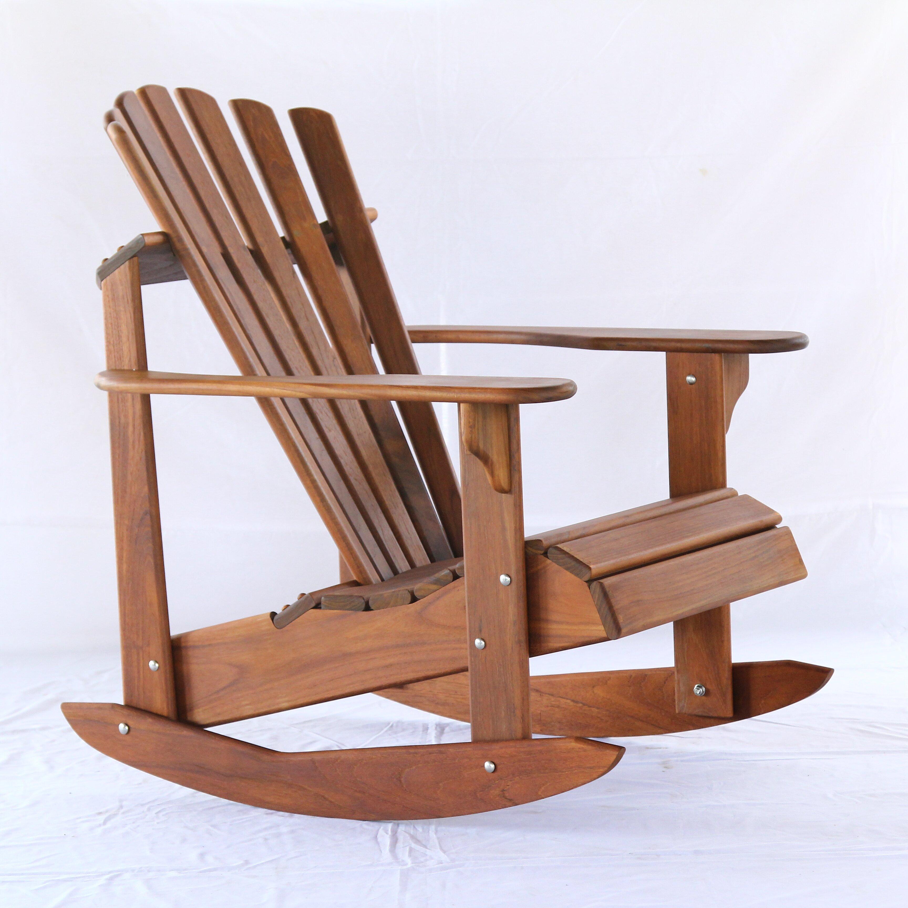Hyres Country Signature Teak Adirondack Rocking Chair & Reviews ...