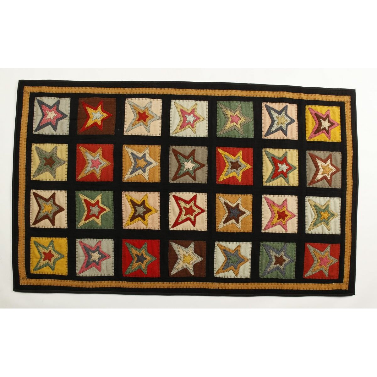Homespice decor penny star patch sampler black gold area for International home decor rugs