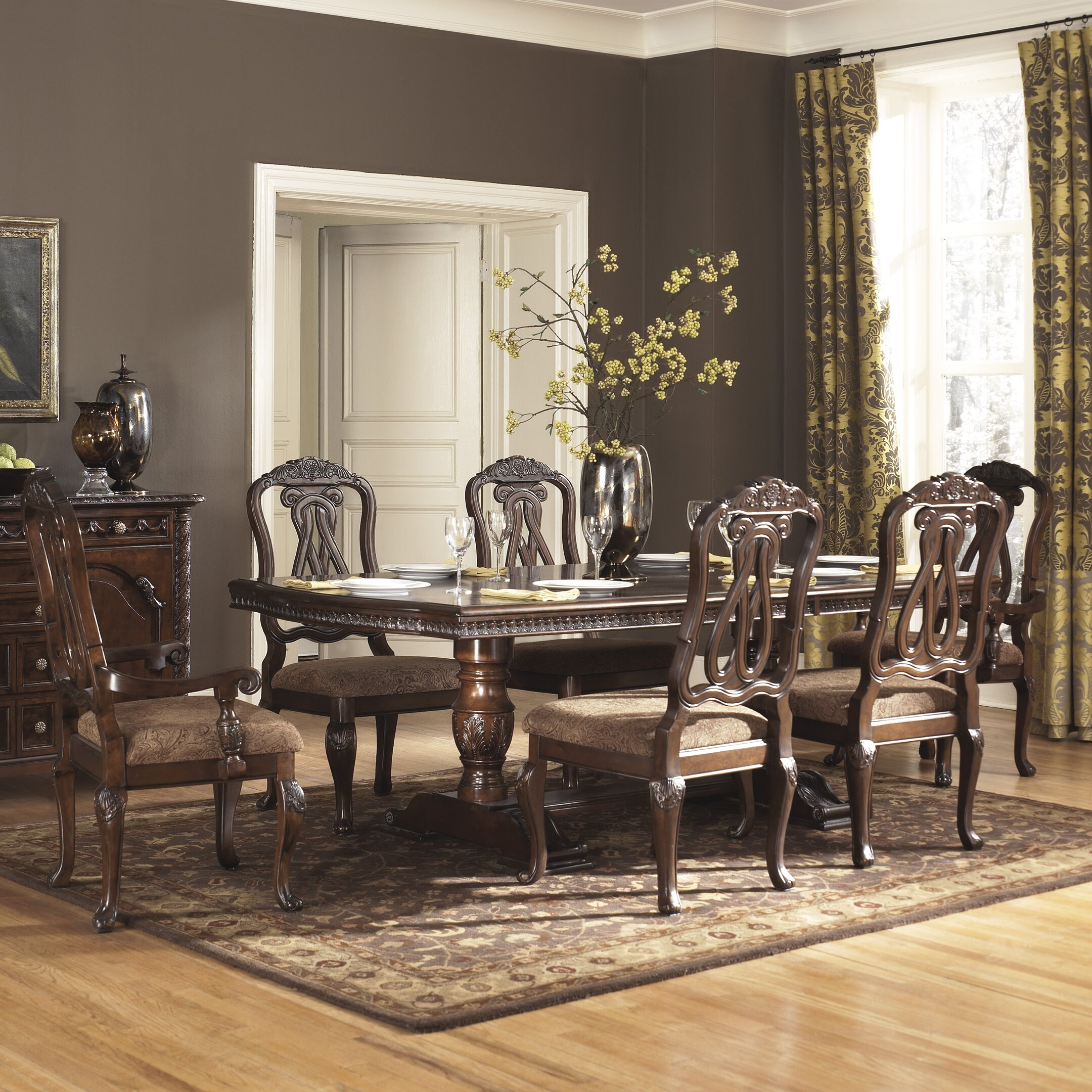 Signature design by ashley north shore 7 piece dining set for Ashley furniture dining room sets design