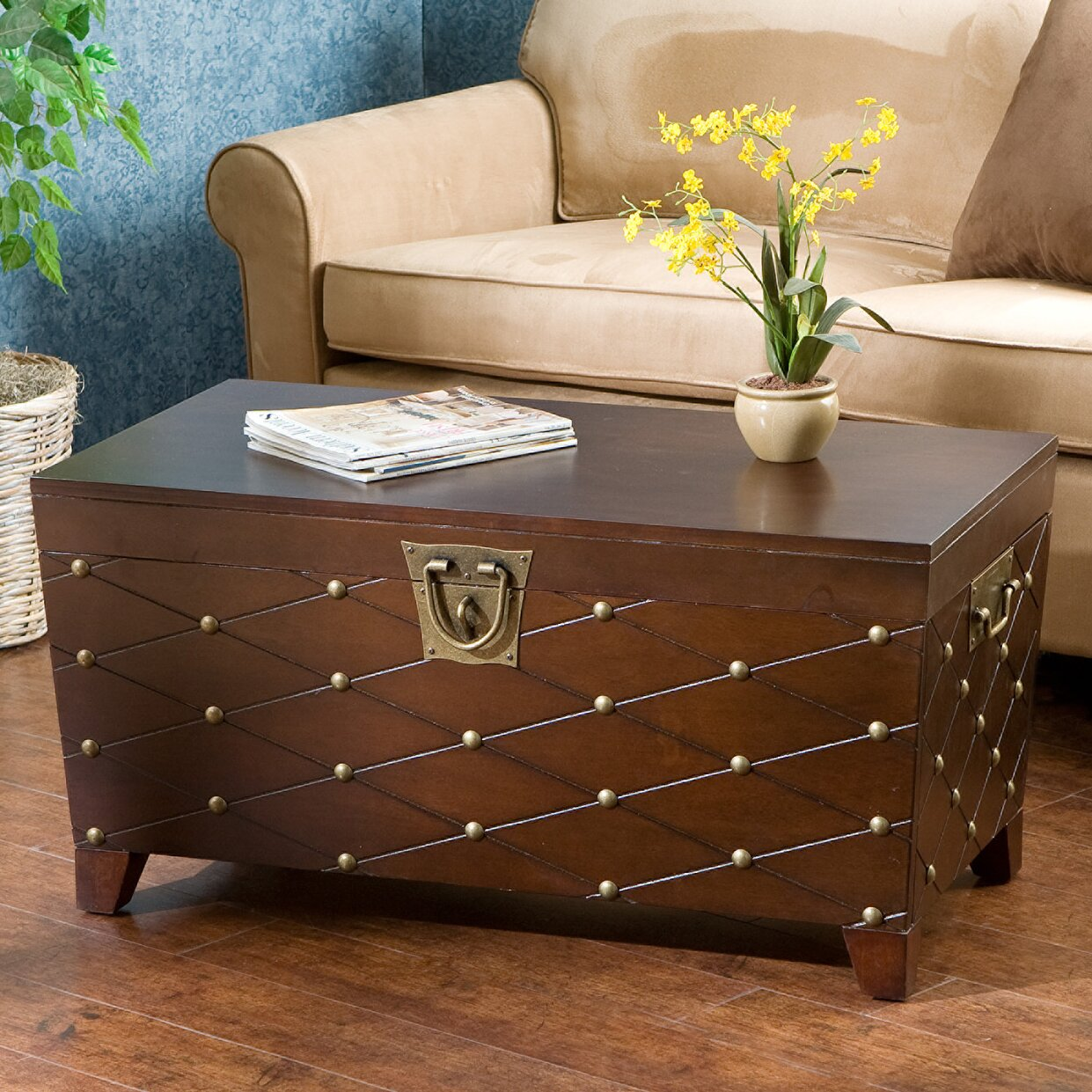Astoria grand cainhoe nailhead trunk coffee table reviews wayfair Trunk coffee tables
