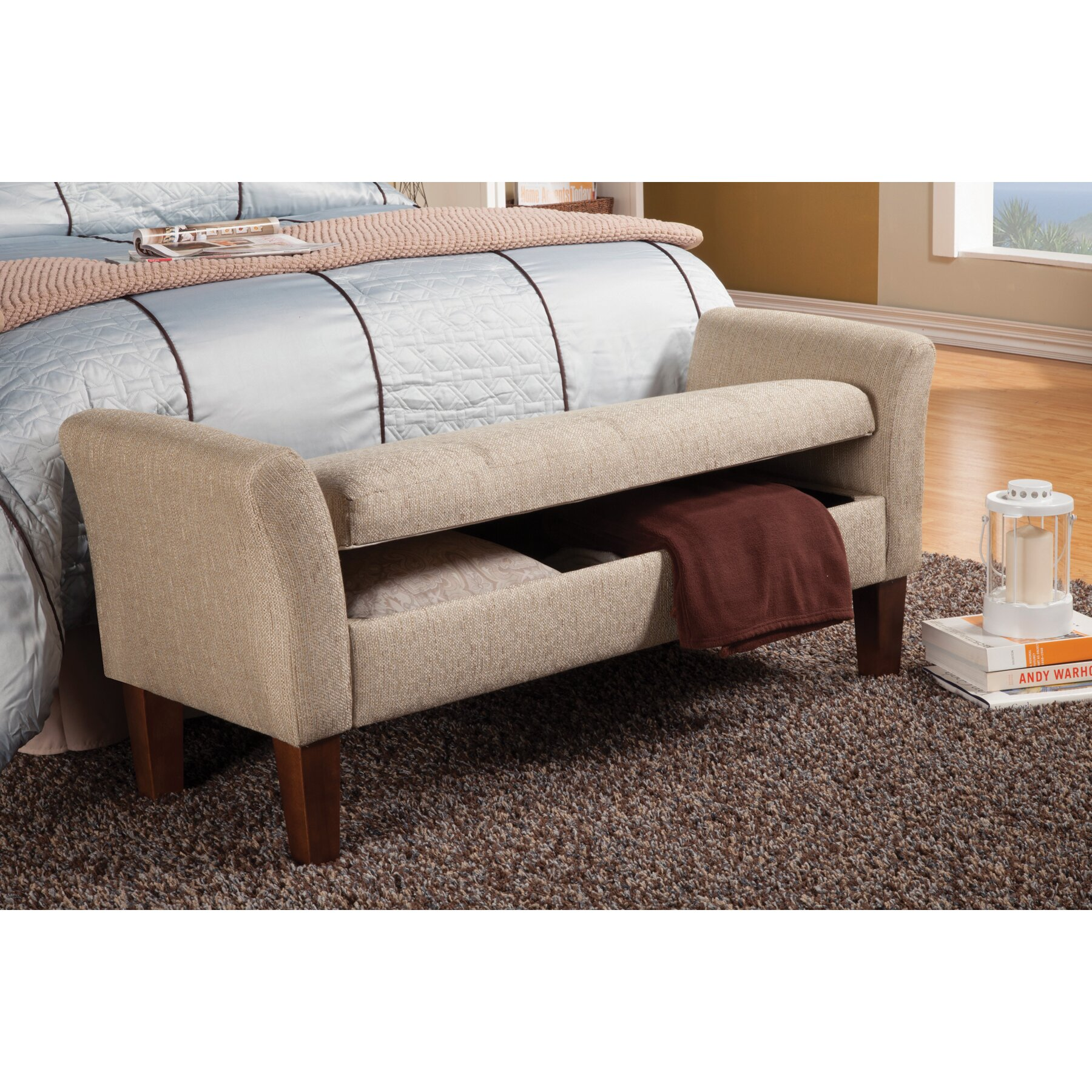 Wildon home upholstered storage bedroom bench reviews wayfair Bedroom storage bench