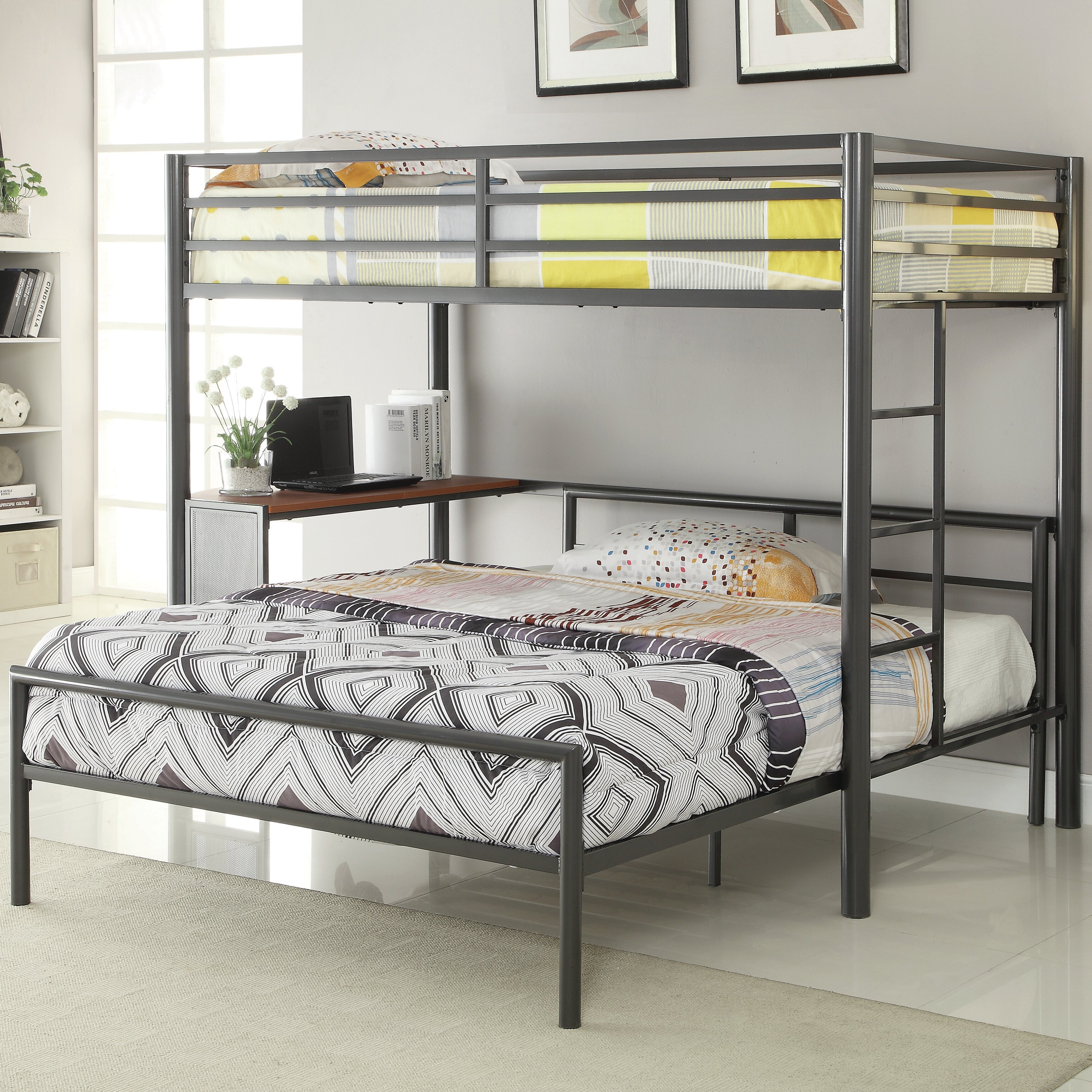 Wildon home twin over full l shaped bunk bed reviews 2 twin beds make a queen