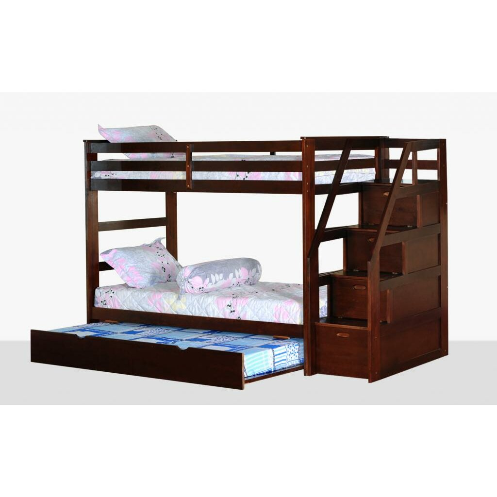 Wildon home cosmo twin bunk bed with trundle and storage for Loft bed with storage