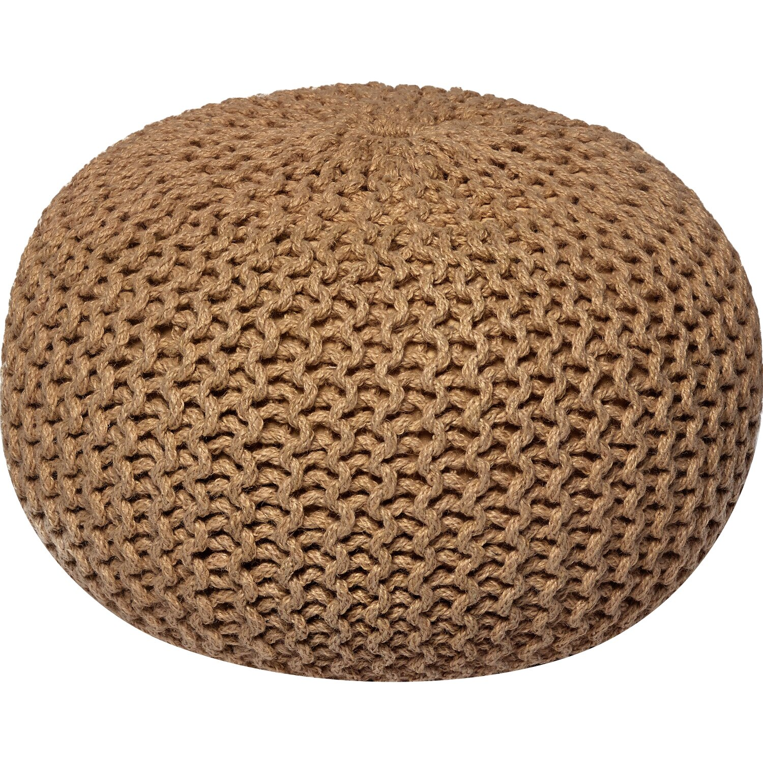 Wildon Home 174 Corded Jute Round Pouf Ottoman Amp Reviews