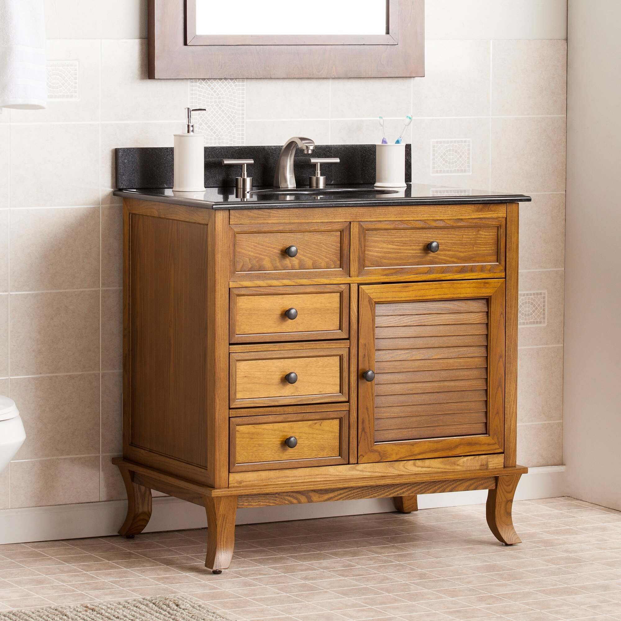 Wildon home waggoner 33 5 single bathroom vanity set for Long bathroom vanity
