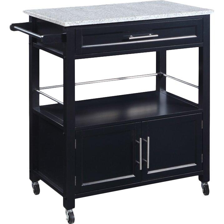 linon kitchen cart with granite top reviews wayfair. Black Bedroom Furniture Sets. Home Design Ideas