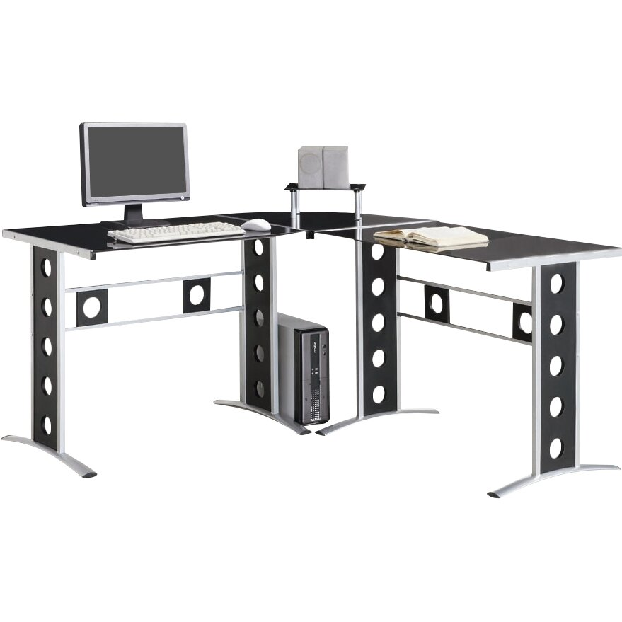 Wildon Home    H...L Shaped Computer Desk For Two