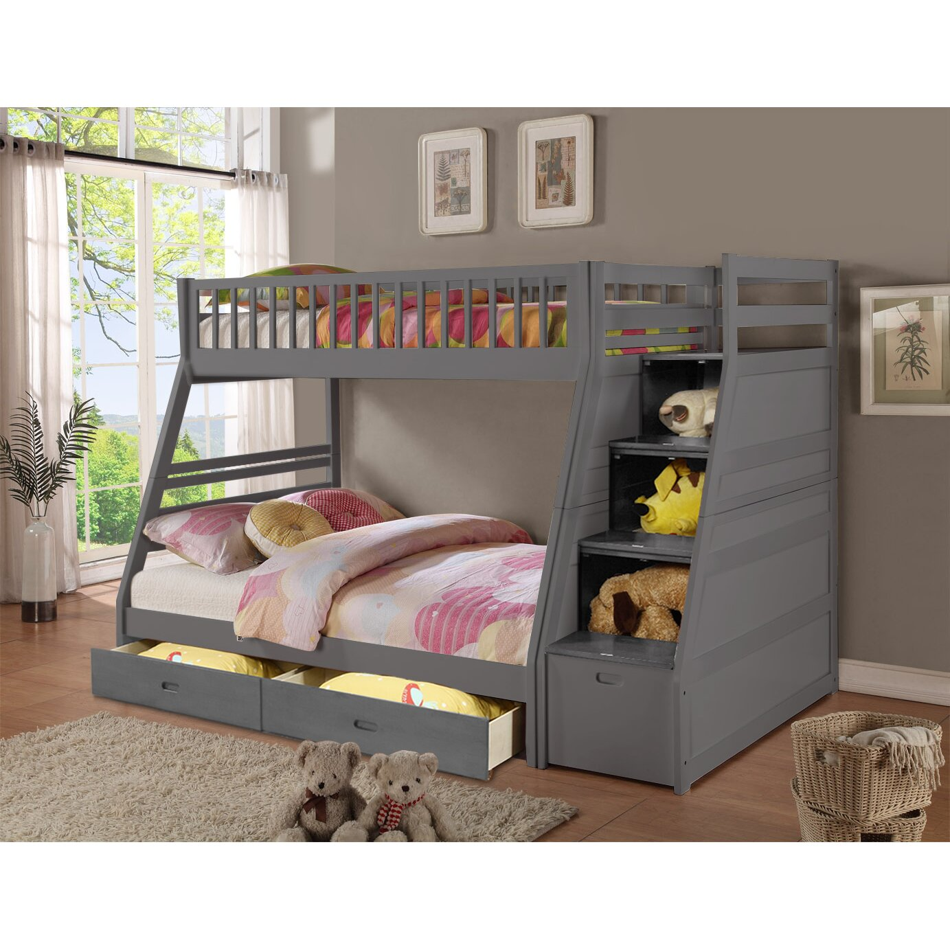 Wildon Home ® Walter Twin Over Full Bunk Bed with Drawers  Wayfair