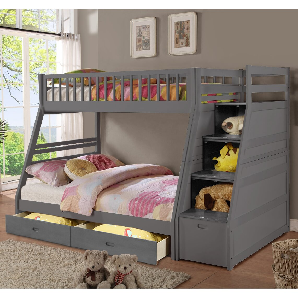 Wildon Home Walter Twin Over Full Bunk Bed With Drawers