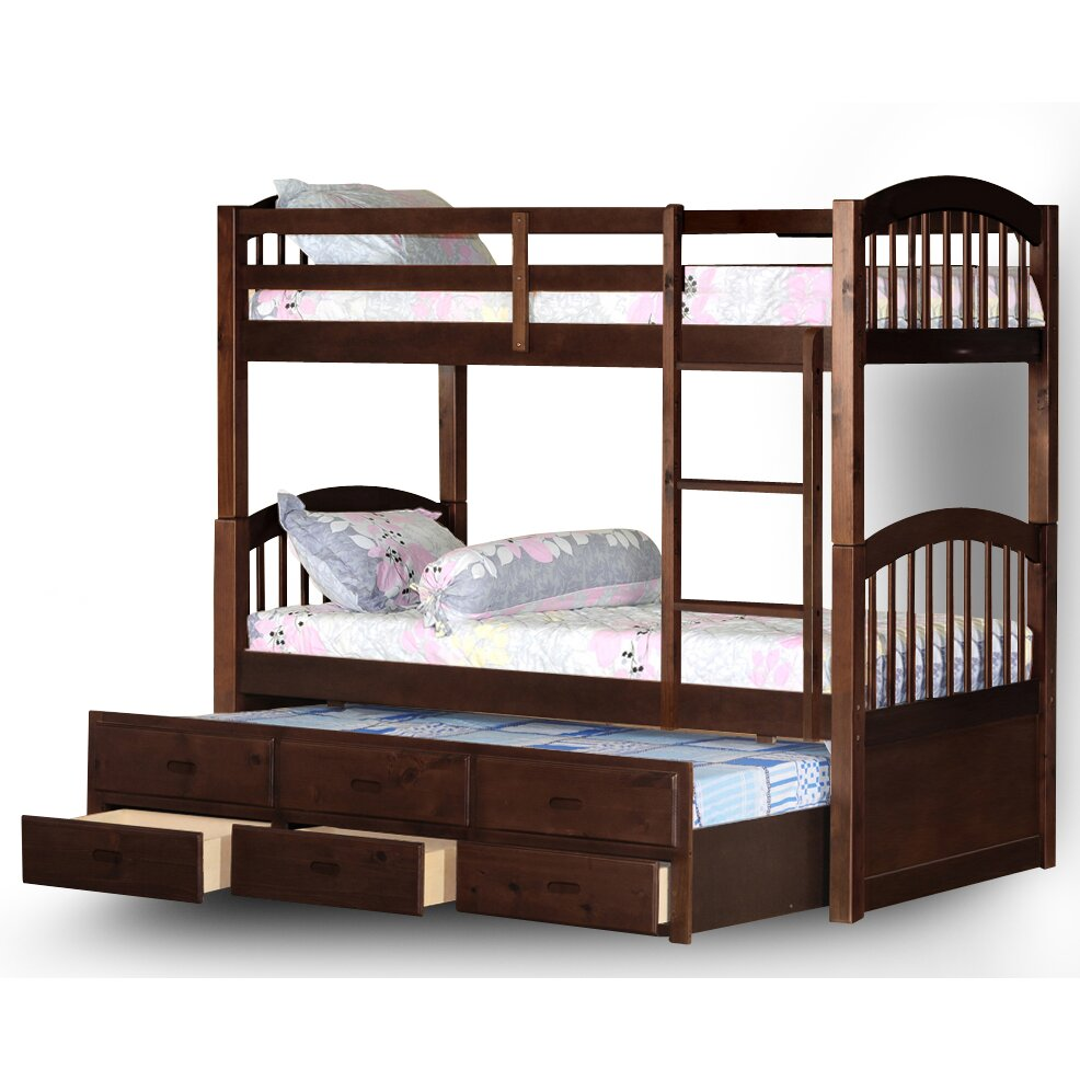 Wildon home arthur twin bunk bed with trundle and for Beds with trundle