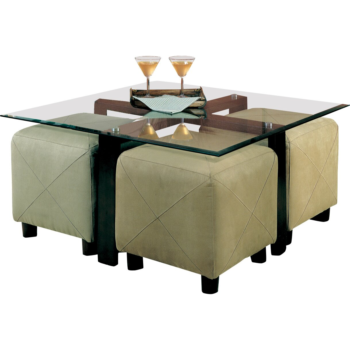 Wildon Home Hines Coffee Table And 4 Ottomans Reviews Wayfair