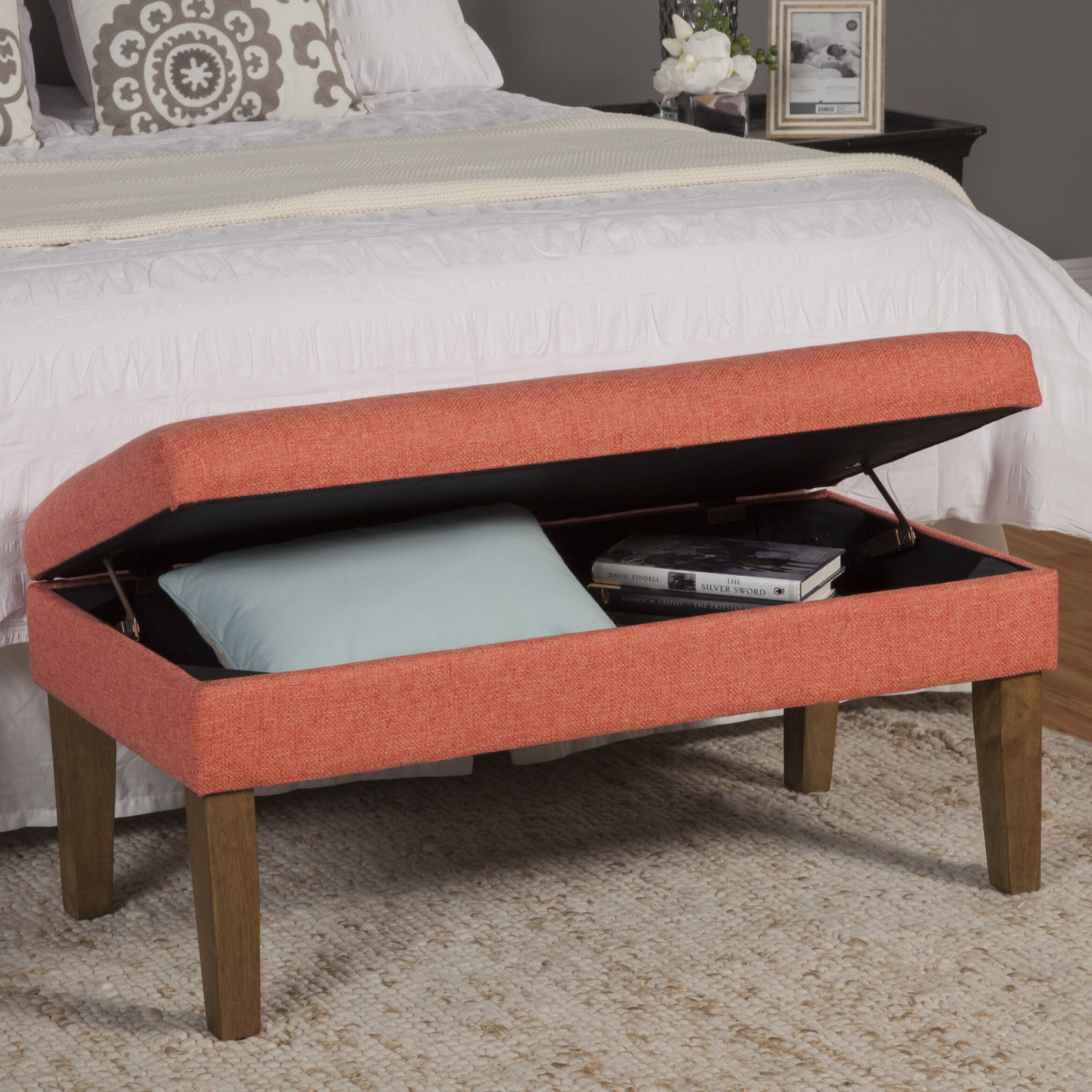 Wildon home axtell decorative storage bench reviews wayfair Decorative benches