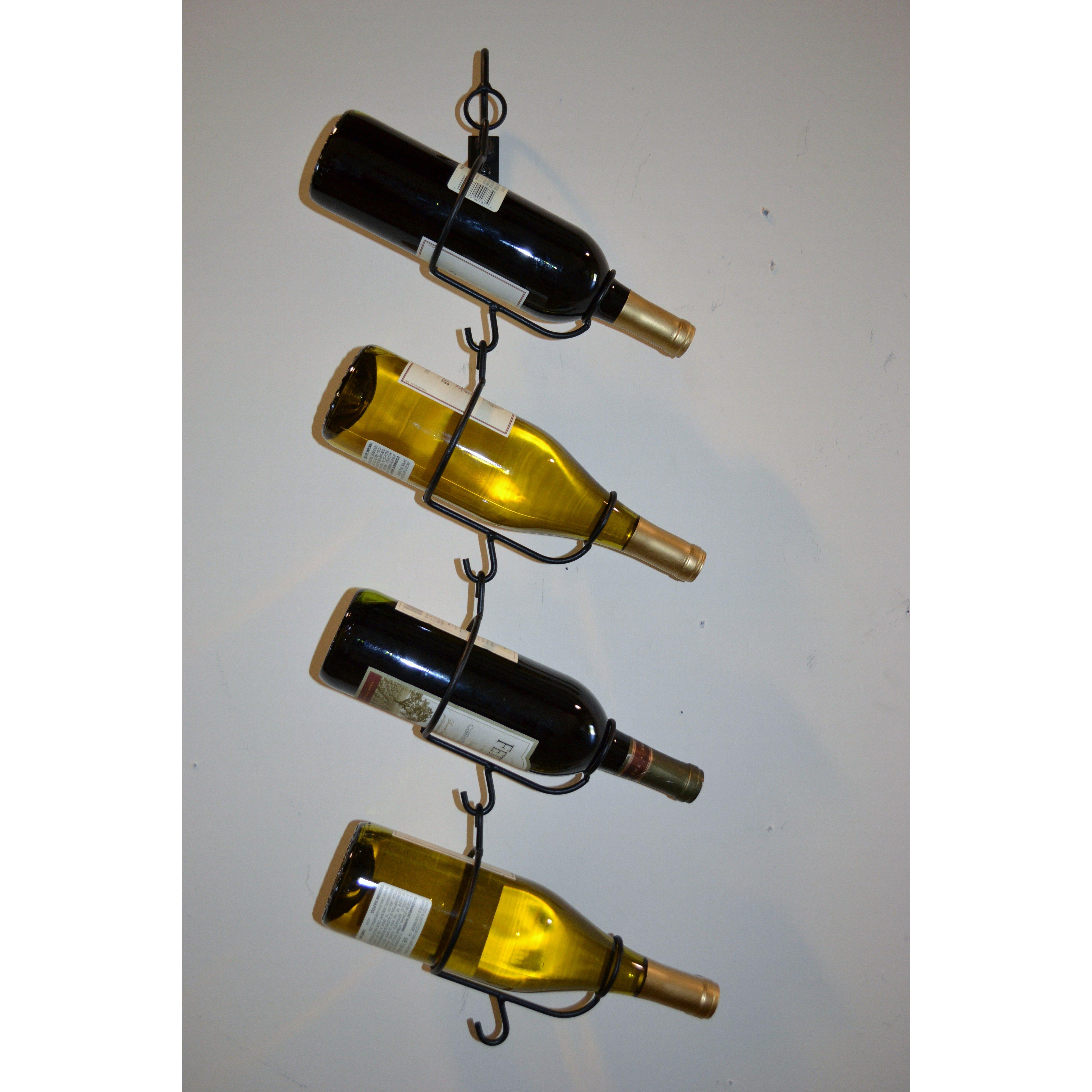 J J Wire 4 Bottle Wall Mounted Wine Rack