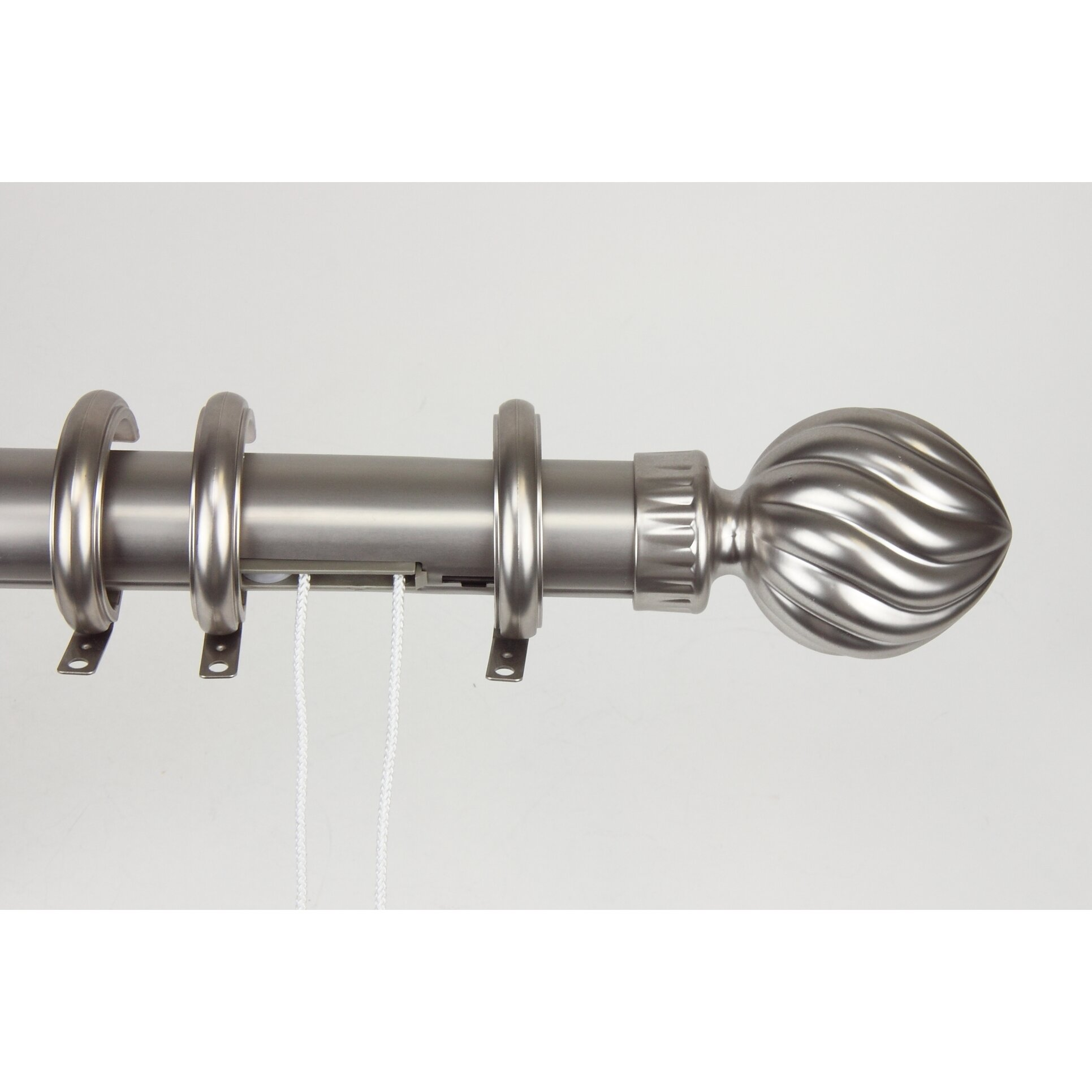 traverse fluted ball center open curtain rod and hardware set by rod