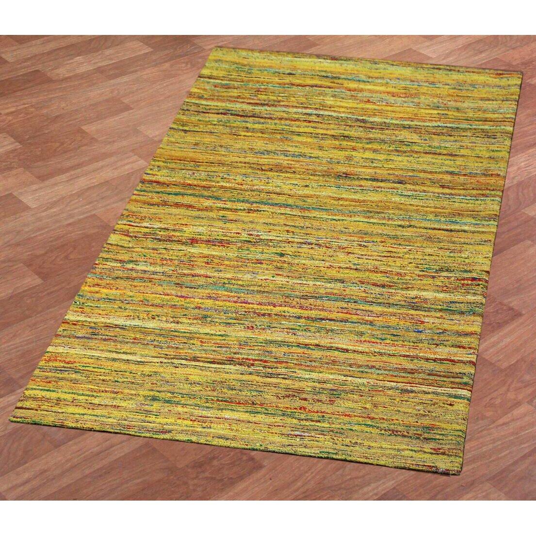 St croix sari silk handmade yellow area rug wayfair for Custom made area rugs