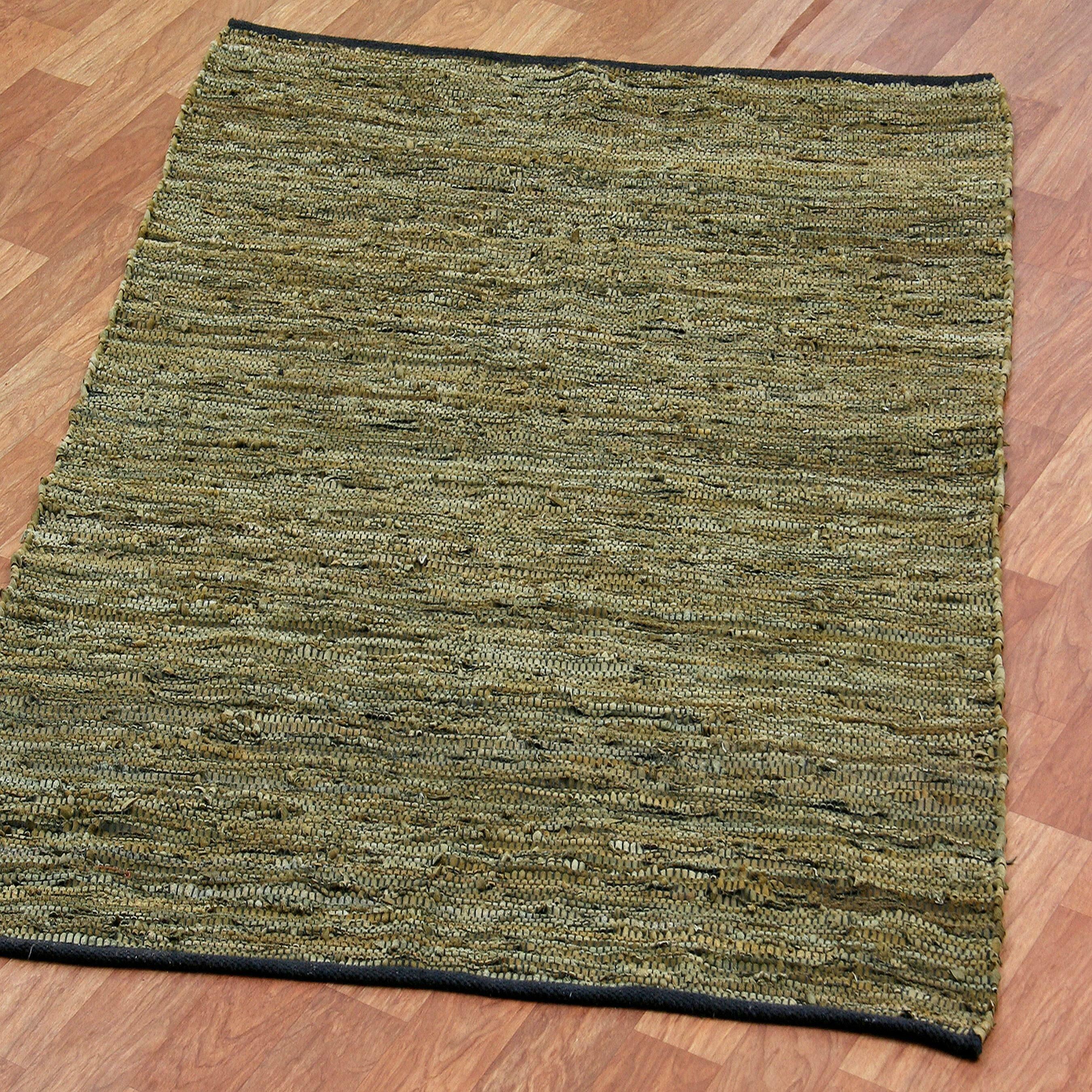 St. Croix Matador Leather Chindi Green Rug & Reviews