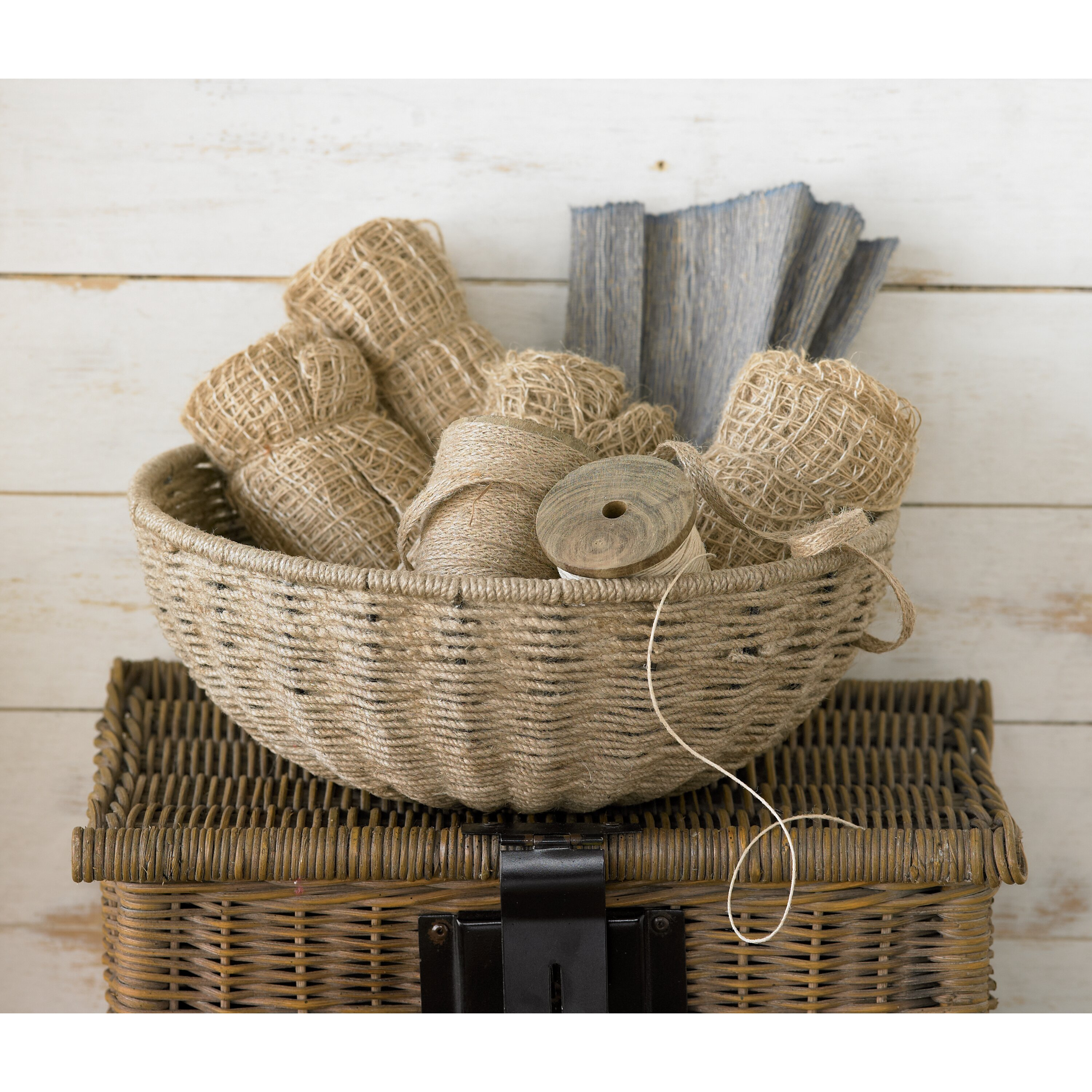 How To Weave A Basket With Rope : St croix kindwer woven jute rope basket with iron frame