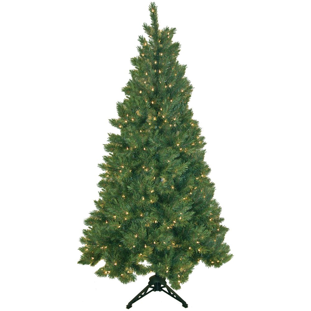 Pre Lit Half Christmas Tree: General Foam Plastics Northern Spruce 6.5' Artificial Half